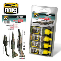 Ammo by Mig Usaf 60S-70S Tac Colours Acrylic Paint Set For Model Kits Mig 7205