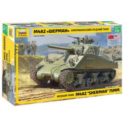Zvezda 3702 M4A2 Sherman 75mm Medium Tank 1:35 Plastic Model Tank Kit