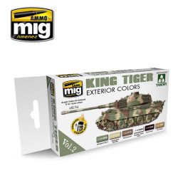 Ammo by Mig King Tiger Exterior Colour Acrylic Paint Set For Model Kits Mig 7166