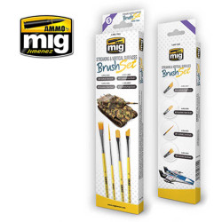 Ammo by Mig Streaking & Vertical Surfaces Brush Set For Model Kits Mig 7604
