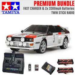 TAMIYA RC 58667 Audi Quattro A2 Rally (TT-02) 1:10 Premium Stick Radio Bundle
