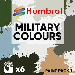 Humbrol 14ml Enamel Paint Pack 1 - 6 Military Colours Set 1
