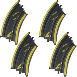 Micro Scalextric Track G104 - 45 Degree Bend - Yellow Markings - 4 Pieces