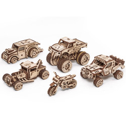 Eco Wood Art - Vehicle Set of 5 Mechanical Wooden Model Kit No Glue Required
