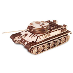 Eco Wood Art - Tank T-34/85 Mechanical Wooden Model Kit No Glue Required