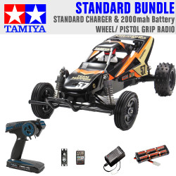 Tamiya RC 47471 Grasshopper II Black Edition 1:10 Standard Wheel Radio Bundle