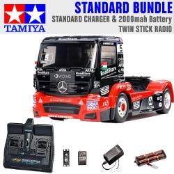 Tamiya RC 58683 Mercedes MP4 Racing Truck 1:14 Standard Stick Radio Bundle