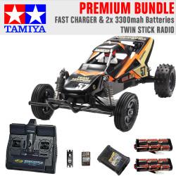 Tamiya RC 47471 Grasshopper II Black Edition 1:10 Premium Stick Radio Bundle