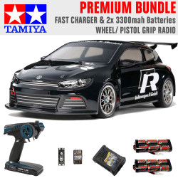 Tamiya RC 47452 Scirocco GT Black Ltd Edition 1:10 Premium Wheel Radio Bundle
