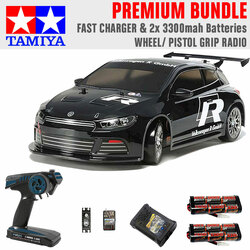 Tamiya RC 47451 VW Scirocco GT Ltd Edition 1:10 Premium Wheel Radio Bundle