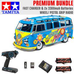 Tamiya RC 47453 VW Type 2 Flower Power M-05 1:10 Premium Wheel Radio Bundle