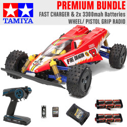 Tamiya RC 47457 Fire Dragon 2020 1:10 Premium Wheel Radio Bundle