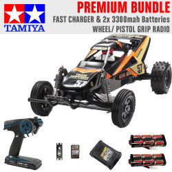Tamiya RC 47471 Grasshopper II Black Edition 1:10 Premium Wheel Radio Bundle
