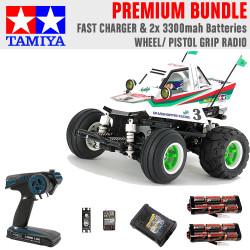 Tamiya RC 58662 Comical Grasshopper (WR-02CB) 1:10 Premium Wheel Radio Bundle