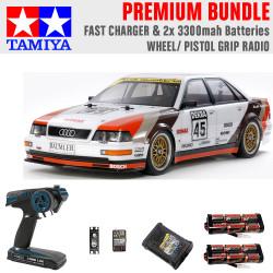 Tamiya RC 58682 Audi V8 Touring 1991 (TT-02) 1:10 Premium Wheel Radio Bundle