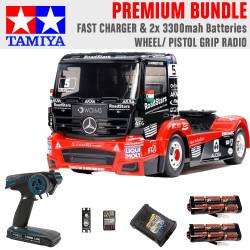 Tamiya RC 58683 Mercedes MP4 Racing Truck 1:14 Premium Wheel Radio Bundle