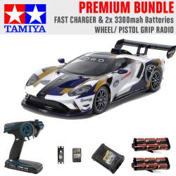 Tamiya RC 58689 Ford GT MkII 2020 (TT-02) 1:10 Premium Wheel Radio Bundle