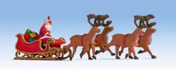 Noch Santa Claus with Reindeer Hauled Sleigh Figure Set N15924 HO Scale