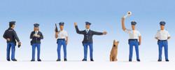 Noch Dutch Policemen (6) & Dog Figure Set N15077 HO Scale