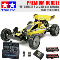 TAMIYA RC 58374 Sand Viper DT-02 Tuned 2WD 1:10 Premium Stick Radio Bundle
