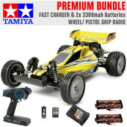 TAMIYA RC 58374 Sand Viper DT-02 Tuned 2WD 1:10 Premium Wheel Radio Bundle