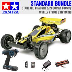 TAMIYA RC 58374 Sand Viper DT-02 Tuned 2WD 1:10 Standard Wheel Radio Bundle