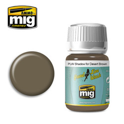 Ammo by MIG Shadow For Desert Brown Panel Line Wash For Model Kits MIG 1621