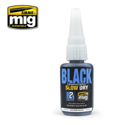Ammo by MIG Black Slow Cure Cyano For Model Kits MIG 8034