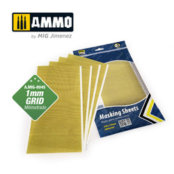 Ammo by MIG Masking Sheets 1mm Grid. X5 Sheets. 290X145mm (Adhesive) For Model Kits MIG 8045