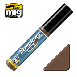 Ammo by MIG Medium Brown Streaking Brusher For Model Kits MIG 1250