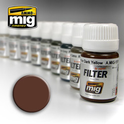 Ammo by MIG Brown For White Filter For Model Kits MIG 1500