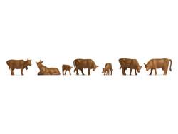 Noch Brown Cows (7) Hobby Figure Set N18216 HO Gauge
