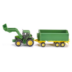 Siku Farmer John Deere with Front Loader and Trailer Diecast Model Toy 1843 1:87