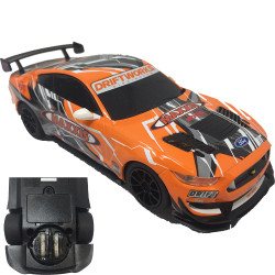 Scalextric Slot Car Drift Ford Mustang GT4 Orange - 360 Degree Guide Blades