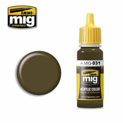 Ammo by MIG Spanish Green-Khaki Acrylic waterbased colour17ml A.MIG-031