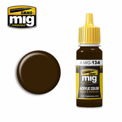 Ammo by MIG Burnt Brown Red Acrylic waterbased colour17ml A.MIG-134