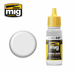 Ammo by MIG Satin White Acrylic waterbased colour17ml A.MIG-047