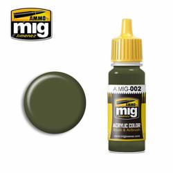 Ammo by MIG RAL 6003 Olivgrün Opt.2 Acrylic waterbased colour17ml A.MIG-002
