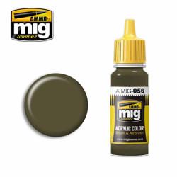Ammo by MIG Green Khaki Acrylic waterbased colour17ml A.MIG-056