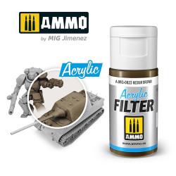 Ammo by MIG Acrylic Filter Medium Brown High quality Acrylic Filter 15ml A.MIG-823