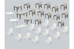 FALLER Garden Chairs (24) and Tables (6) Model Kit HO Gauge 180439
