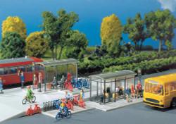 Faller Modern Bus Stops (2) and Bicycle Rack Building Kit VI N Gauge 272543