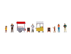 Noch At the Hot Dog & Ice Cream Stalls Themed Figure Set N16229 HO Gauge