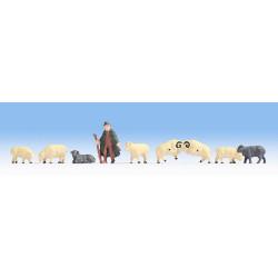 NOCH Shepherd and Sheep (8) Hobby Figure Set HO Gauge Scenics 18210