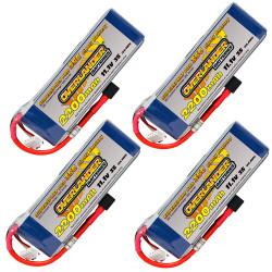 Overlander 4x LiPo Battery 2200mAh 3S 11.1v 30C Deans RC Flight Pack