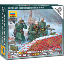 ZVEZDA 6210 German Machine Gun w/Crew Snap Fit Model Kit 1:72