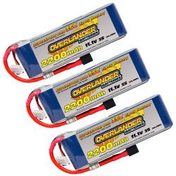Overlander 3x LiPo Battery 2200mAh 3S 11.1v 30C Deans RC Flight Pack