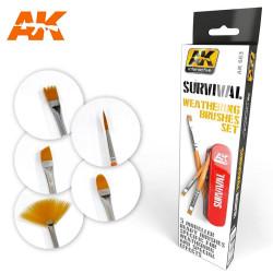AK Interactive AK663 Survival Weathering 5-Brush Paintbrush Set