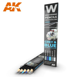 AK Interactive AK10043 Grey & Blue Camo Weathering Pencils Shading & Effects Set