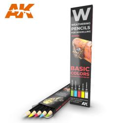 AK Interactive AK10045 Basic Colors Weathering Pencils Shading & Demotion Set